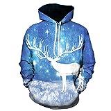 Geili Herren Kapuzenpullover Weihnachten 3D Druck Weihnachtsmann Schneemann Rentiere Sweatshirt Herbst Winter Übergrößen Langarm Hoodie mit Tasche Bluse Mantel für Männer Größe M-3XL