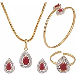 Archi Collection Designer Jewellery Combo of Red American Diamond Pendant with Chain, Earrings, Ring and Bracelet for Girls & Women