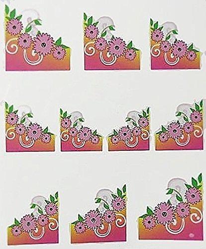 Nail art manucure stickers pour ongles: 10 décalcomanies fleurs roses arabesques