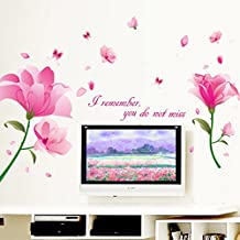 UberLyfe Valentines Day Spacial Large Pretty Pink Flowers Wall Sticker Size 4 (Wall Covering Area: 87cm x 170cm) - WS-000930