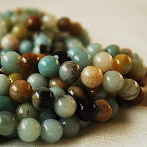 Perle rotonde naturali di amazzonite pluricromatiche, pietra naturale semipreziosa di alta qualità grado a, filo di 40,6cm, perline da 4, 6, 8, 10 mm, multicolor, 4mm (98 - 102 beads)
