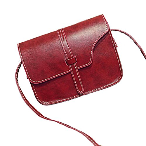 Culater® Mujeres Bolso De Cuero De ImitacióN Crossbody Bolsa De Asas (Rojo)