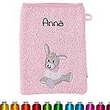 Sterntaler Kinder/Baby Waschhandschuh bestickt mit Namen für Mädchen, Waschlappen personalisiert zur Geburt, Taufe oder als Geschenk zum Geburtstag (Emmi Girl Rosa) Mädchen