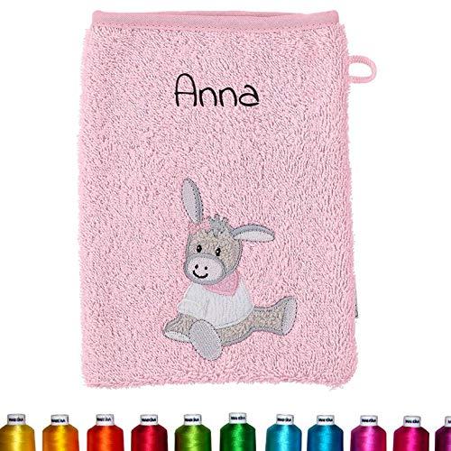 Sterntaler Kinder/Baby Waschhandschuh bestickt mit Namen für Mädchen, Waschlappen personalisiert...