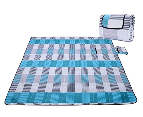 Honeystore Flanell Wasserdichte Yoga Matte Strand Ausflug Picknickdecke Mit Tragegriff 200*200 CM Blau Grau Karo
