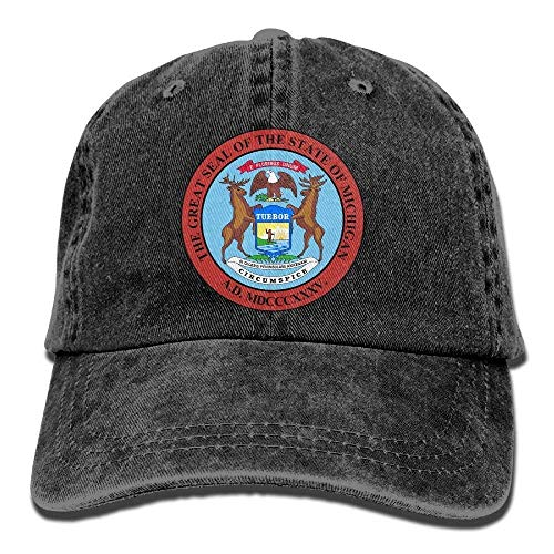 Cap Coat of Arms of Michigan Unisex Flat Bill Hip Hop Cap Baseball Hat Head-Wear Cotton Trucker Hats Red ()