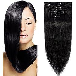 Extensiones de Cabellos Naturales Clips Pelo Humano 100% REMY 8 Piezas 18 Clips para el pelo muy fino (#1 Negro 50cm 70g)