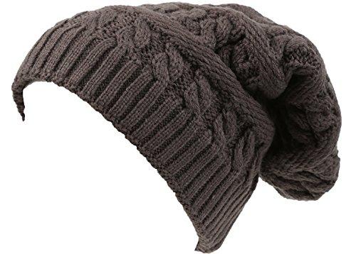 sakkas-16149-unisexe-figaro-long-tall-cable-classique-en-tricot-en-fausse-fourrure-double-bonnet-gri