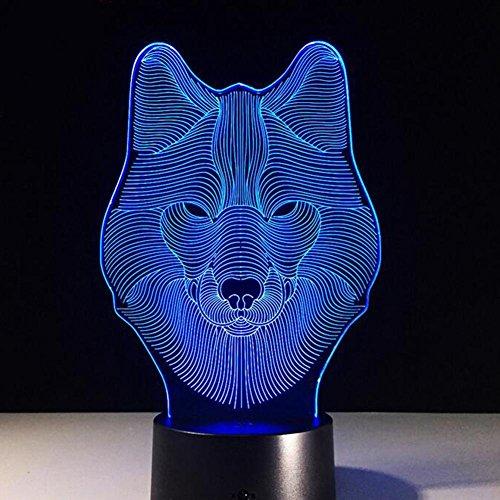 ZxTL 3D Wolf Gesicht Effekt Optische Illusion Lampe USB Touch LED Night Light 7 Ändern Farbe Startseite Dekoration Kreatives Geschenk Schreibtisch (Halloween Effekte Gesicht)