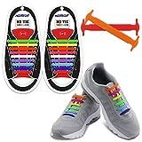 Homar sin corbata Cordones de zapatos para niños y adultos Impermeables cordones de zapatos de atletismo atlética de silicona elástico plano con multicolor de los zapatos del tablero Sneaker boots (Adult Size Mix Color)
