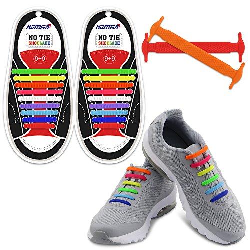 Homar no tie lacci per scarpe per bambini e adulti - impermeabile in silicone elastico piatto laces athletic scarpa da corsa con multicolore per scarpe sneakerboots bordo e scarpe casual - mix color