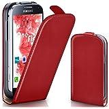 Samsung Galaxy S4 Mini Hülle Rot [OneFlow 360° Klapp-Hülle] Etui thin Handytasche Dünn Handyhülle für Samsung Galaxy S4 Mini Case Flip Cover Schutzhülle Kunst-Leder Tasche