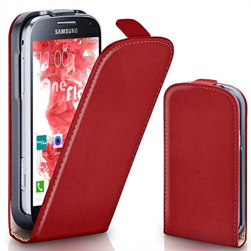 Flip Samsung Rot S4 Cover (Samsung Galaxy S4 Mini Hülle Rot [OneFlow 360° Klapp-Hülle] Etui thin Handytasche Dünn Handyhülle für Samsung Galaxy S4 Mini Case Flip Cover Schutzhülle Kunst-Leder Tasche)