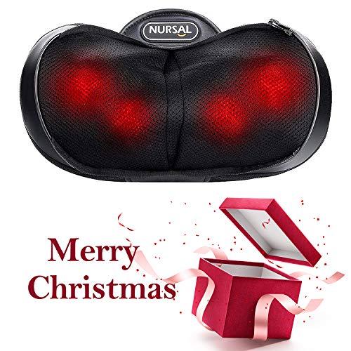 NURSAL Massagekissen Shiatsu Massagegeräte für Nacken Schulter Rücken, 4 Modi Elektrische Nackenmassagegerät mit Wärmefunktion und 3D-rotierenden Massageköpfen für Muskelschmerzen Erleichterung
