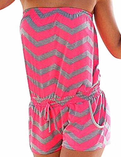 Emma Damen Strapless tr?gelos weg von der Schulter kurzer Overall Sexy Sommer Strand mit Druck Jumpsuits Rompers(RG,M)