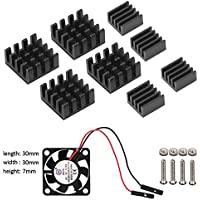 1pcs Ventilateur and 8pcs Dissipateur de Chaleur pour Raspberry Pi 3 Modèle B