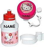 Set: Fahrradtrinkflasche + Klingel + Fahrradhandschuhe - Hello Kitty - incl. Name - Fahrrad Trinkflasche - Mädchen Katze Flaschenhalter Kunststoffflasche - Kinderfahrrad Katze / mit Halterung - Halter für Kinder Fahrradflasche