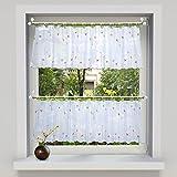 souart™ Weiß Kurz Küchengardine Stickerei Blumen Raffrollos Voile Vorhang für Küche 45x90cm 1 Stück Grün