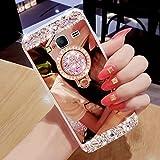 Hancda Hülle für Samsung Galaxy J3 2016/2015, Hülle Case Handyhülle Glitzer Spiegel Hüllen Diamant Glitter Bling Glänzend Cover Silikonhülle mit Ring Ständer Stand für Galaxy J3 2016 / J320-Rose Gold