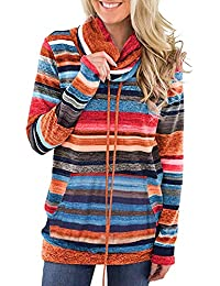 VJGOAL Mujeres otoño e Invierno Moda Casual Bufanda Cuello Rayas Manga Larga Bolsillo con cordón suéter
