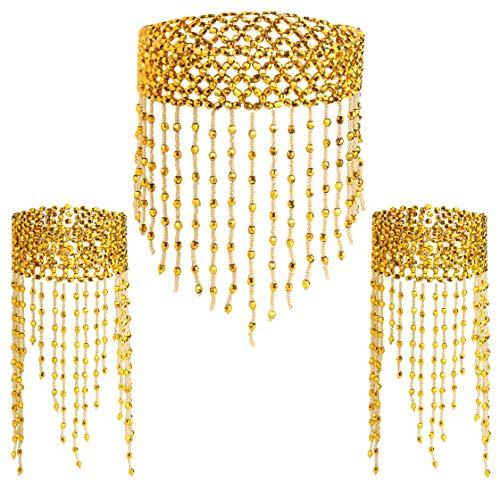 Coucoland 1920s Halskette Armband Acessoires Set Damen Exotisch Cleopatra Kostüm Zubehör Set Accessoires 20er Jahre Bauchtanz Blinkendes Kette Armband Fasching Kostüm Accessoires (Gold) (Pailletten Cleopatra Kostüm)