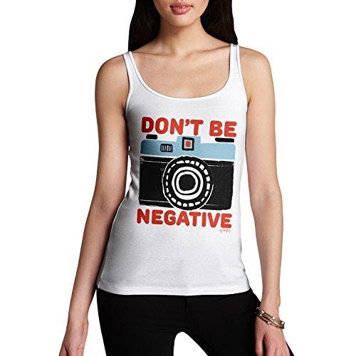 TWISTED ENVY Damen Tank Top Don't Be Negative Print Weiß
