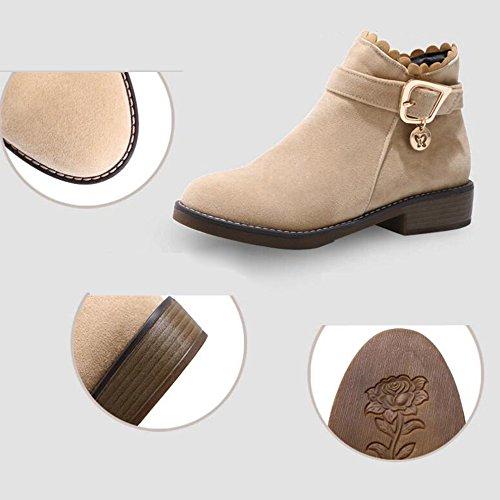efb96e698f43 ... Haizhen Bottines Chaussures Femme Plissé Chaussures À Talons Hiver   Cheville  Bottes Pour Robe Beige Gris ...