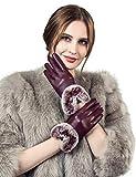 YISEVEN Damen Elegant Lammfelll Lederhandschuhe Kaninchenfell Touchscreen mit Warm Gefüttert Elegant Winter Leder Autofahrer Handschuhe, Weinrot 7.0/M