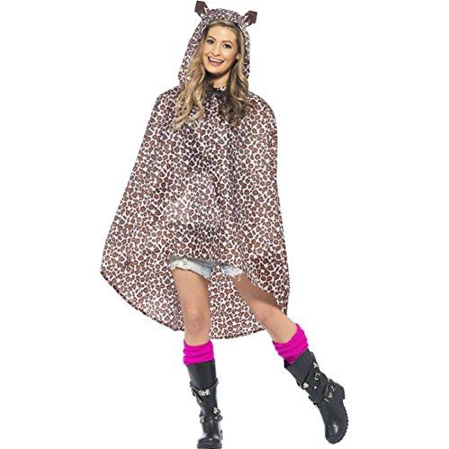 NET TOYS Leoparden Kostüm Damen Leopardenkostüm Poncho Regenponcho Regenmantel Regenjacke Party - Nette Dame Kostüm