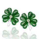 Pendientes de plata con diseño de trébol de cuatro hojas, color verde, para mujeres y niñas