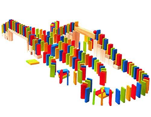 XL Set: 200 Bausteine bunt - aus Holz - ideal für Domino Rally - bunte Steine Holzbausteine Bricks natur Baustein Naturbaustein - Kinderland - Holzbaustein - für Kinder Mädchen Jungen / Holzspielzeug (Xl-brick)