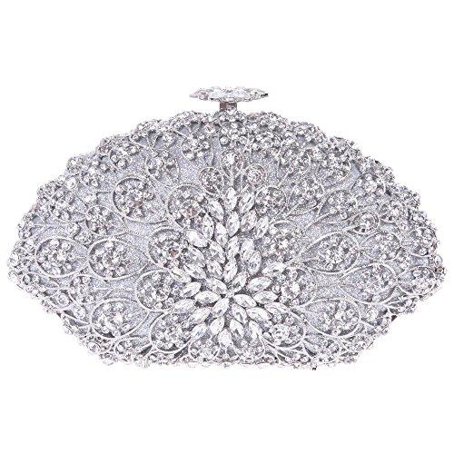 Santimon Donna Pochette Borsa Forma Conchiglia Partito Borsellini Diamante Cristallo Borse Da Festa di Nozze Sera Con Tracolla Amovibile 4 Colori argento