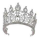 Santfe Couronne de Princesse Serre-tête Diadème en Strass Parure Nuptiale Accessoires Cheveux Pour Mariage Mariée Art deco - d'Argent