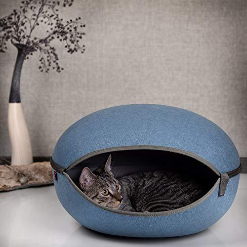 CanadianCat Company ® | Katzenbett, Katzenhöhle in royal-blau, die Kuschelhöhle mit Stil