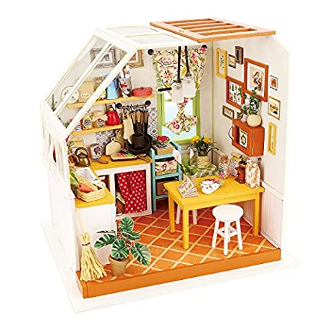 ROBOTIME Kitchen Playset - DIY Kitchen House with Accessories and Furniture - Miniature Dolls House Renovation kits with LED Light for Boys and Girls 6, 7, 8, 9 Year Old and Up - Creative Birthday Christmas Gift for Kids and Women (Jason's