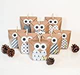 DIY Adventskalender Bastelset Christmas Owl blue, 1 x 24 Tüten individuell befüllbar, inkl. Sticker