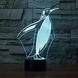 YKMY Kreative Pinguin Form 3D LED Nachtlicht, 7 Farben Tier Illusion Nachtlampe mit USB Powered und Touch-Schalter, Kinder Tisch Schreibtisch neben Lampe Geburtstag Festival