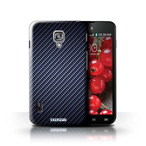 Kobalt® Imprimé Etui / Coque pour LG Optimus L7 II Dual / Pourpre conception / Série Motif de Fibre de Carbone Bleu