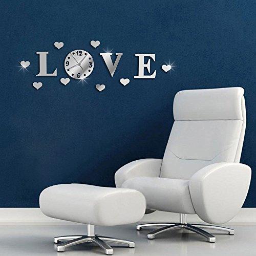 Vetrineinrete® orologio da parete adesivo sticker componibile tridimensionale 3d scritta love effetto specchio decorazione murales 0445s