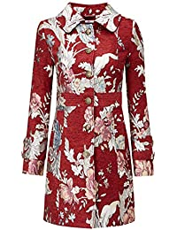 Joe Browns Women's Fitted Red Pea Coat With Tapestry Detailing