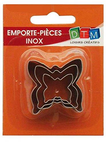 3 mini formine per biscotti a forma di farfalla in acciaio inox