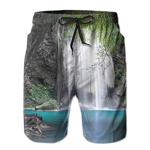 Azfaiop Surreal Scene Deep Down in Rainforest Mens Beach Shorts Swim Trunks Quick Dry Board Shorts with Pockets L -