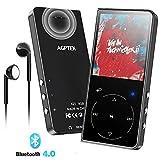 AGPTEK Lettore MP3 Bluetooth 8GB con Altoparlante Integrato, Portatile Lossless Sound Lettore Musica Pulsante Tocco con Radio FM, Registratore Vocale, Supporto Espandibile Fino a 128GB, Nero