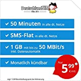 DeutschlandSIM LTE Mini SMS 1 GB - monatlich kündbar (1 GB LTE mit max. 50 MBit/s + Datenautomatik, 50 Minuten, SMS-Flat, EU-Ausland inklusive, 5,99 Euro/Monat)
