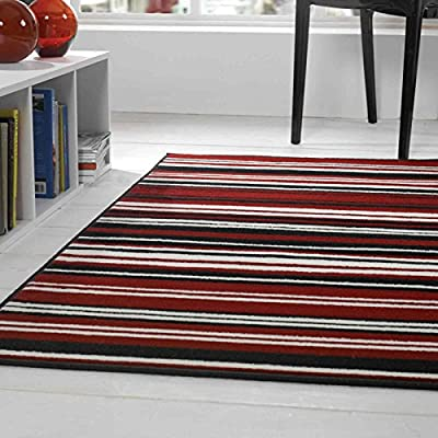 Flair Rugs Element Canterbury Striped Rug, Red/Black, 120 x 160 Cm - low-cost UK rug store.