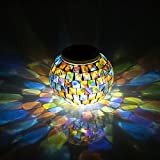 StillCool® Solar Powered Outdoor Color Changing Mosaic Solar Lights LED Magic Sunshine Glass Ball Lovely Night Lights Party Lights, Weatherproof Crystal Glass Globe Ball, Best Table Lamps for Home, Garden,Yard, Patio, Party, Christmas, Outdoor Lighting Decoration and Festival Gift (S-315 Colorful)