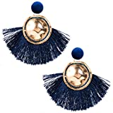 QiXuan Mujer Bohemio 14K Chapado en oro Pendientes Borlas En forma de abanico Relleno Zirconia cúbica Cuelga Pendientes de gota (azul marino)
