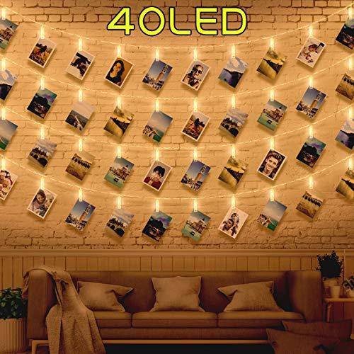 WEARXI 40 LED Foto Clip Lichterketten für Zimmer Deko Wohnzimmer - Lichterkette Foto Lichterkette zum Bilder, Lichterkette Klammern für Dekoration Wohnung Modern, innen, Weihnachten, Hochzeit