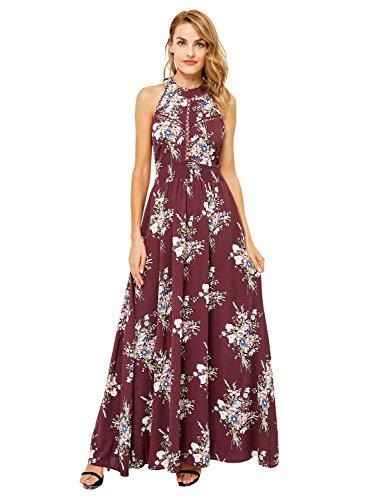 Missy Chilli Damen Lang Kleid Sommer Elegant Ärmellos Neckholder Blumen Rückenfrei Chiffon Maxi Kleid Dress mit Schnürung Rot