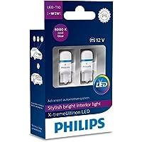 Philips 12799I80X2 X-Tremeultinon LED Interior Car Light W5W T10 8000K 12V, Cool Blue, Set of 2